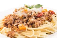 Spaghetti Bolognese Closeup. Italian pasta Stock Photos