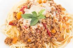Spaghetti Bolognese Closeup. Italian pasta Stock Photography