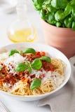 Spaghetti bolognese con basilico e parmigiano, pasta italiana fotografia stock libera da diritti