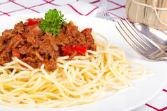 Spaghetti bolognese dinner Stock Photography