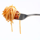 Spaghetti bolognese on fork Stock Photos