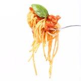 Spaghetti bolognese on a fork Royalty Free Stock Photos