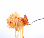 Spaghetti bolognese on fork Royalty Free Stock Photo