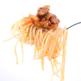 Spaghetti bolognese on a fork Royalty Free Stock Images