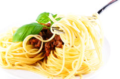 Spaghetti bolognese with fork Royalty Free Stock Image
