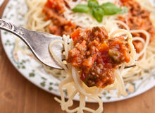 Spaghetti Bolognese on a Fork Royalty Free Stock Photo