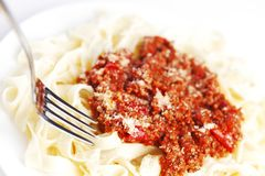 Spaghetti bolognese and fork Stock Images