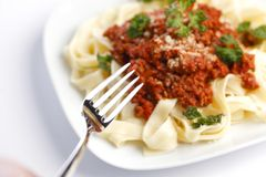 Spaghetti bolognese and fork Royalty Free Stock Images