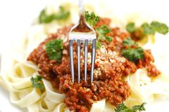 Spaghetti bolognese and fork Royalty Free Stock Photo