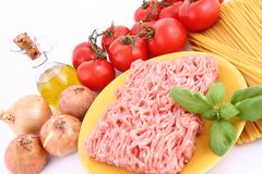 Spaghetti bolognese ingredients Royalty Free Stock Image