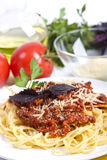 Spaghetti bolognese with ingredients royalty free stock photos