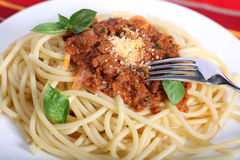 Spaghetti bolognese meal Stock Photo