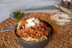 Spaghetti bolognese with meat and tomato sauce and parmesan Stock Photography