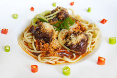 Spaghetti bolognese meatballs with sauce Stock Image
