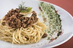 Spaghetti bolognese met parmezaanse kaas 1 Stock Afbeelding