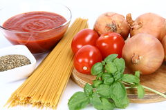 Spaghetti bolognese or napoli ingredient Stock Photography