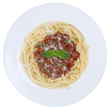 Spaghetti Bolognese noodles pasta meal isolated Royalty Free Stock Images