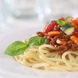 Spaghetti Bolognese noodles pasta meal with meat and vegetables Stock Photos