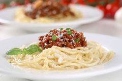 Spaghetti Bolognese noodles pasta meal on a plate Stock Photography