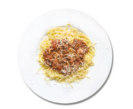 Spaghetti bolognese with parmesan,isolated Royalty Free Stock Photos