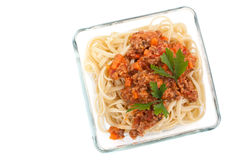 Spaghetti bolognese with parsley Royalty Free Stock Images