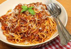 Spaghetti Bolognese in Pasta Bowl Stock Photo
