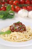 Spaghetti Bolognese pasta meal on a plate Royalty Free Stock Photo