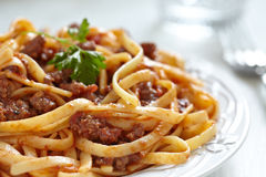 Spaghetti bolognese. Pasta with tomato beef sauce Royalty Free Stock Photo