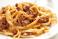 Spaghetti bolognese. Pasta with tomato beef sauce Stock Photos