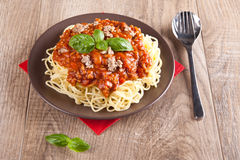 Spaghetti Bolognese. Picture of spaghetti bolognese on a dish Stock Photography