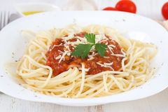 Spaghetti bolognese on the plate Royalty Free Stock Photography