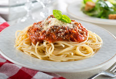 Spaghetti Bolognese. A plate of delicious spaghetti bolognese with meat sauce and fresh basil Stock Images