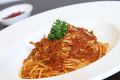 Spaghetti Bolognese. The popular Italian pasta dish, Spaghetti Bolognese Stock Photos
