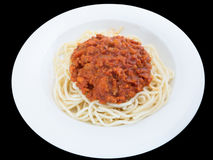 Spaghetti bolognese with pork or meat tomato sauce on a plate is Stock Photo