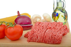 Spaghetti bolognese preparation Royalty Free Stock Images