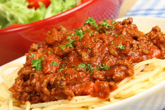 Spaghetti Bolognese with Salad Royalty Free Stock Images