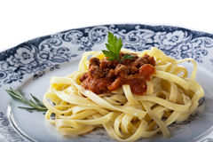 Spaghetti with bolognese sauce. Plate of pasta with bolognese sauce isolated on a white background stock photo