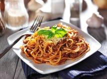 Spaghetti in bolognese sauce Stock Photo