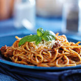 Spaghetti in bolognese sauce close up Royalty Free Stock Image