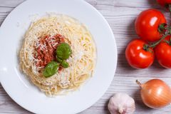 Spaghetti with bolognese sauce and ingredients. top view Stock Photography