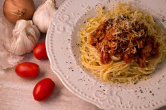 Spaghetti with bolognese sauce and parmesan. Spaghetti on plate with bolognese souce and parmesan stock images