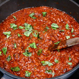 Spaghetti Bolognese Sauce With Fresh Basil Royalty Free Stock Photos