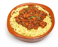 Spaghetti Bolognese. Served in a terracotta dish Royalty Free Stock Images