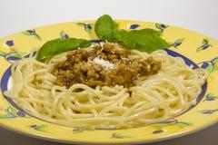 Spaghetti bolognese servito sul piatto Immagine Stock Libera da Diritti