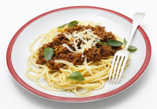 Spaghetti bolognese side view Stock Photography