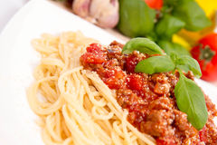 Spaghetti bolognese. Some tomatoes, olive oil, basil, garlic in the background Royalty Free Stock Image