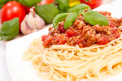 Spaghetti bolognese. Some tomatoes, olive oil, basil, garlic, and raw pasta in the background Royalty Free Stock Photos
