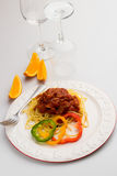 Spaghetti Bolognese with Sweet Peper Stock Photos