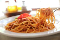 Spaghetti bolognese , Spaghetti with tomato sauce top with cheese , Italian Food royalty free stock image