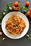 Spaghetti bolognese, top view Stock Image